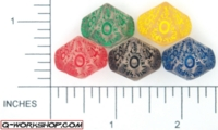 Dice : D10 CLEAR ROUNDED SOLID Q WORKSHOP RUNIC 01