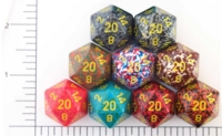 Dice : D20 OPAQUE ROUNDED SPECKLED WITH YELLOW 2