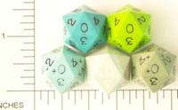 Dice : D20 OPAQUE SHARP SOLID BLUE GREEN