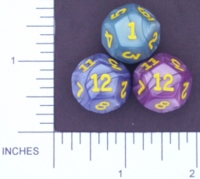 Dice : D12 OPAQUE ROUNDED IRIDESCENT KOPLOW 01