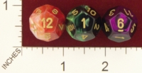 Dice : D12 OPAQUE ROUNDED IRIDESCENT SWIRL CHESSEX 2009 GEMINI 01