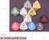 Dice : D8 OPAQUE ROUNDED SOLID Q WORKSHOP RUNIC II 01