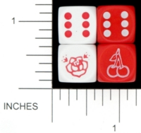 Dice : D6 OPAQUE ROUNDED SOLID TATTOO MAMMA ROSE AND CHERRIES 01