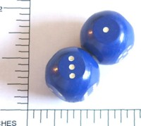 Dice : LG PLASTIC 2 D6 OPAQUE ROUNDED SOLID SPHERICALISH BLUE