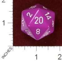 Dice : D20 OPAQUE ROUNDED SOLID CHESSEX PURPLE LIGHT WITH WHITE JUMBO 01
