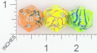 Dice : D20 OPAQUE ROUNDED SWIRL CRYSTAL CASTE ELECTRIC 01