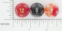 Dice : D12 TRANSLUCENT ROUNDED SWIRL CHESSEX 01