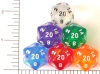 Dice : D20 TRANSLUCENT ROUNDED CHESSEX BOREALIS 1