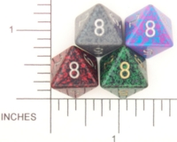 Dice : D8 OPAQUE ROUNDED SPECKLED WITH METAL 2