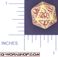 Dice : D20 OPAQUE ROUNDED SOLID Q WORKSHOP RUNIC 02