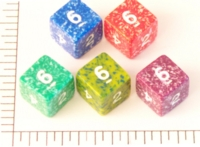 Dice : NUMBERED OPAQUE ROUNDED SPECKLED KOPLOW 01