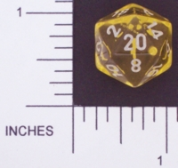Dice : D20 CLEAR ROUNDED SOLID CHESSEX 01