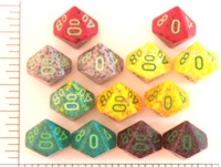 Dice : D10 OPAQUE ROUNDED SPECKLED WITH GREEN 1