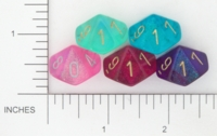 Dice : D10 TRANSLUCENT ROUNDED GLITTER CHESSEX BOREALIS 3