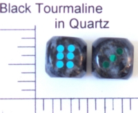 Dice : STONE D6 BLACK TOURMALINE