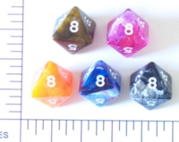 Dice : D8 OPAQUE ROUNDED SWIRL 1