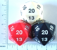 Dice : D20 OPAQUE ROUNDED SOLID HUGE 1
