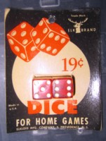 Dice : DUPS03 ELK IVORY 2 RED CLEAR EIGHTHS 19 CENT