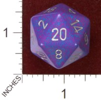Dice : D20 OPAQUE ROUNDED SPECKLED CHESSEX SILVER TETRA JUMBO 01