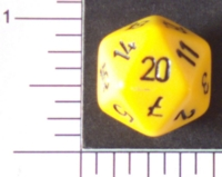 Dice : D20 OPAQUE ROUNDED SOLID YELLOW 01