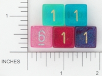 Dice : NUMBERED TRANSLUCENT ROUNDED GLITTER CHESSEX BOREALIS 3