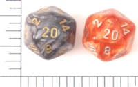 Dice : D20 TRANSLUCENT ROUNDED SWIRL CHESSEX LEAF 1