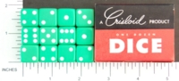Dice : MINT1 CRISLOID GREEN 12 FIVE EIGHTHS 02