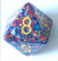 Dice : DUPS IN D8 OPAQUE ROUNDED SPECKLED WITH YELLOW 1