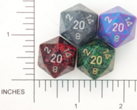 Dice : D20 OPAQUE ROUNDED SPECKLED WITH METAL 4
