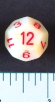 Dice : D12 OPAQUE ROUNDED SPECKLED WITH RED 2