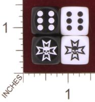 Dice : MINT29 CHESSEX CUSTOM MALTESE CROSS WITH SKULL WARHAMMER BLACK TEMPLAR 01