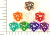 Dice : D20 CLEAR ROUNDED SOLID CHESSEX