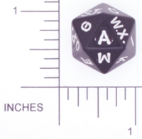 Dice : D20 OPAQUE ROUNDED SOLID BLACK LETTER 01