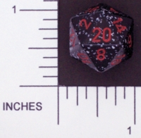 Dice : D20 OPAQUE ROUNDED SPECKLED WITH RED 3