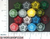 Dice : D12 OPAQUE ROUNDED SOLID Q WORKSHOP ELVEN 01