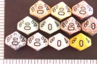 Dice : D10 OPAQUE ROUNDED SPECKLED WITH BLACK 1