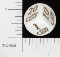 Dice : NON NUMBERED OPAQUE ROUNDED SOLID KOPLOW EURO CENT 01