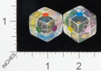 Dice : D6 CLEAR ROUNDED SOLID BULLFROG LASERWORKS FOR JENNEFER ASPERHEIM FLOWER 01