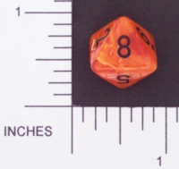 Dice : D8 OPAQUE ROUNDED SWIRL CHESSEX VORTEX 02