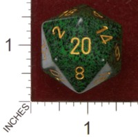 Dice : D20 OPAQUE ROUNDED SPECKLED CHESSEX GOLDEN RECON JUMBO 01