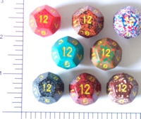 Dice : D12 OPAQUE ROUNDED SPECKLED WITH YELLOW 1