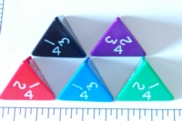 Dice : D4 OPAQUE ROUNDED SOLID JUMBO