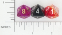 Dice : D8 TRANSLUCENT ROUNDED SWIRL CHESSEX 01