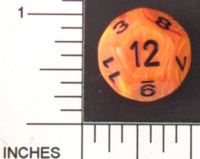 Dice : D12 OPAQUE ROUNDED SWIRL CHESSEX VORTEX MAGMA