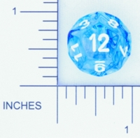 Dice : D12 CLEAR ROUNDED SWIRL CHESSEX NEBULA 03