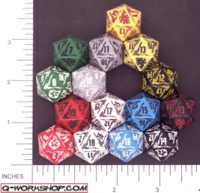 Dice : D20 OPAQUE ROUNDED SOLID Q WORKSHOP FADING SUNS 01