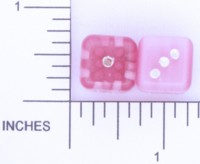 Dice : STONE D6 OCONEE MINERALS FIBER OPTIC GLASS PINK 02