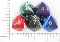 Dice : D8 OPAQUE ROUNDED SWIRL CRYSTAL CASTE JUMBO SILK 01