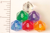 Dice : D8 TRANSLUCENT ROUNDED GLITTER CHESSEX BOREALIS 1