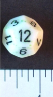 Dice : D12 OPAQUE ROUNDED SPECKLED WITH BLACK 2
